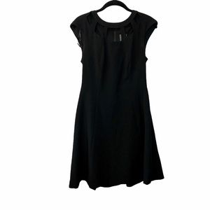 Vince camuto black open front mini flare dress